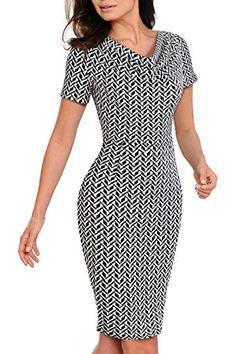 cde6408dd6a4 HOMEYEE Women s V-Neck Short Sleeve Business Pencil Professional Dress B452