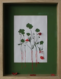 Peter Callesen ed Running Poppies II, 2007  Acid free A4 80g paper and acrylic paint 53x40,5x7 cm
