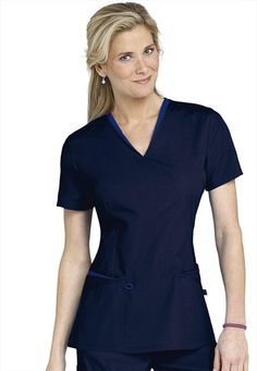 1bc5bf89f08 Urbane layered v-neck scrub top. LOVE THIS! Medical Uniforms, Scrub Tops