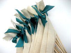Rustic Jute Wedding Wands by kate kate nyc colors shown: jute, jade