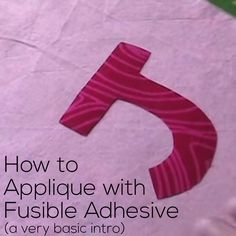 A video tutorial covering fusible adhesive for applique. And after fusing, optional decorative stitches around the edges for extra strength and beauty. Applique Monogram, Hand Applique, Machine Applique, Free Machine Embroidery, Wool Applique, Embroidery Applique, How To Applique, Raw Edge Applique, Embroidery Thread