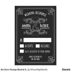 Art Deco Vintage Black & Silver Wedding RSVP Cards