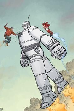Big Guy & Rusty the Boy Robot - Geof Darrow (art) & Frank Miller (story) Comic Book Artists, Comic Books Art, Comic Art, Geof Darrow, Robot Monster, American Comics, Sci Fi Art, Dieselpunk, Architecture Art