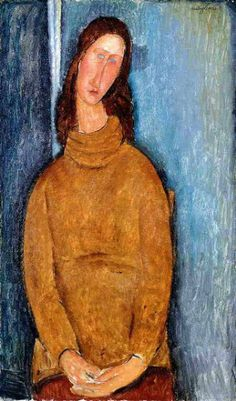 amedeo modigliani jeanne hebuterne in a yellow jumper painting ...