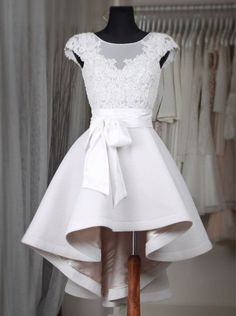 Glamorous Bateau Cap Sleeves Hi Lo White Homecoming Dress with Lace Sash