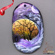 Fashion Pendant Hand Painted Scenery Natural Gemstone ZL805694 #ZL #Pendant