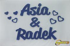 Pracownia Dekoracji ARQ - DECOR - Asia & Radek, Imiona Nowożeńców , Pary Młodej (NA ZAMÓWIENIE) nr 125 Dekoracje Ślubne