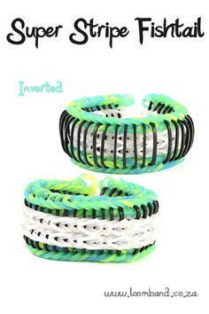 Super stripe fishtail loom band bracelet
