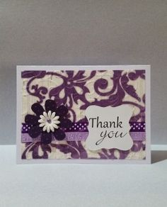 Thank you Card with cut-out flowers. Ribbon embellishments and handmade paper-background. Custom color to your specification.