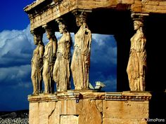 The Caryatids at the entrance of the Erechtheion.  Athens, Greece