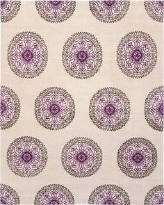 Madeline Weinrib - Bone and Purple 'Gemma' Tibetan Hand-Knotted Wool Carpet