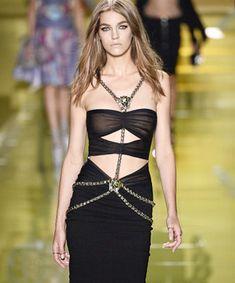 Elegant Luxury: body chain on Versace runway