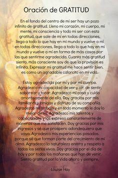Tratamiento de gratitud God Prayer, Prayer Quotes, Daily Prayer, Spiritual Prayers, Spiritual Messages, Positive Life, Positive Thoughts, Catholic Prayers In Spanish, Happy Day Quotes