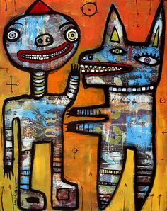 11 x 14 inch Jeff Hughart folk outsider art by ARTbyjeffhughart