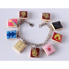 Gravity Falls Inspired Scrabble Tile Charm Bracelet ❤ liked on Polyvore featuring jewelry, bracelets, chains jewelry, charm bangles, charm bracelet, charm bracelet bangle and charm bracelet jewelry