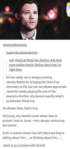 Sam is the most frustrated Destiel shipper of us all