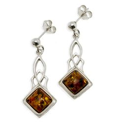 cherry amber and sterling silver earrings