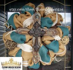 Burlap Rustic Cross Wreath by lilmaddydesigns on Etsy, $115.00