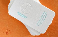 """Jess Johnston Business Cards  by Dingbat Press. Letterpress Printed 2/0 on Lettra 110# Soft White paper with 1/4"""" rounded corners."""