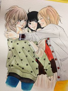 hatsumishinogu:  The three Kimi ni Todoke girls as they appear on the cover for volume 18. Love the colors and details.