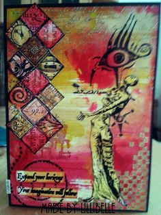 Card made with rubber stamps (Cherry Pie, Stampers Anonymous) and mixed media by http://lillibelles.blogspot.de/