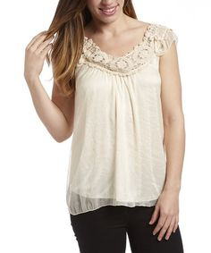 Look at this #zulilyfind! Ivory Crochet Angel-Sleeve Top by Simply Irresistible #zulilyfinds