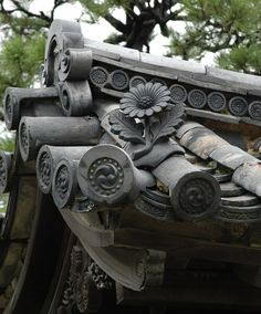 Roof detail at Nijo Castle, Kyoto, Japan.