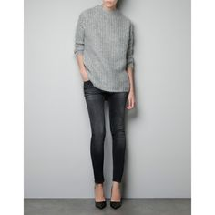 Zara Sweater With Stones On The Shoulders ($129) found on Polyvore