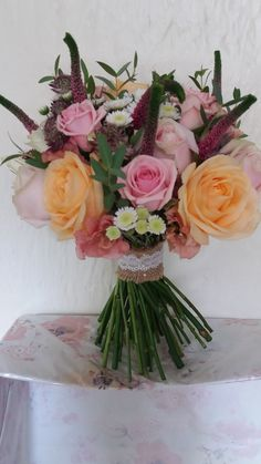 The bride loved this bouquet of sweet avalanche roses peach avalanche roses pink veronica and astrantia...