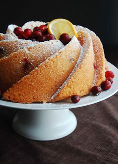 Meyer Lemon and Cranberry Bundt Cake - so many ways to switch up this recipe (glaze, different fruit combos, etc.), but it looks absolutely delish as is!