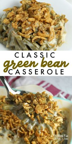 The BEST Green Bean Casserole - Perfect for the Holidays! A Classic Green Bean Casserole is such a delicious side dish that everyone loves and takes very little skill. This is our favorite Thanksgiving recipe! Toast Pizza, Greenbean Casserole Recipe, Casserole Recipes, Chili Quinoa, Keto Crockpot Recipes, Cooking Recipes, Healthy Recipes, Thanksgiving Recipes, Holiday Recipes