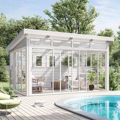 Komplett hagestue Bedroom Inspiration Cozy, Pergola, Gazebo, Home Greenhouse, Garden Design, House Design, Original Design, Backyard Pool Designs, Outdoor Spaces