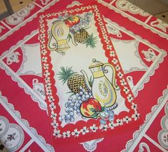Vintage Towel Coffee Pots & Fruit by unclebunkstrunk on Etsy
