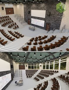 Lecture Hall with props that consist of Teacher's Chair, Table, Student Chair, Building etc. Hall Design, Church Design, School Building Design, School Design, Auditorium Design, Minecraft Interior Design, Lecture Theatre, School Hall, Architecture Concept Drawings
