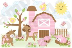 "PINK BARNYARD FARM ANIMALS WALL MURAL DECALS BABY GIRL NURSERY KIDS ROOM DECOR 29"" Tall and 43"" Wide #decampstudios"
