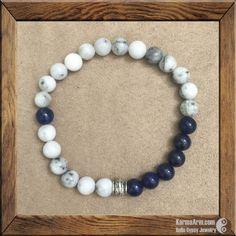HARMONY: Green Earth Jasper + Lapis Lazuli Yoga Mala Bead Bracelet