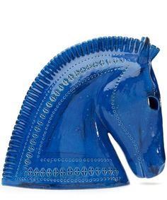 Blue Bitossi ceramic horse head