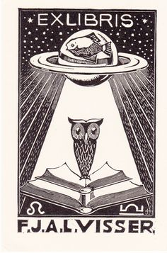 Great Bookplate Estate vintage ex libris labels artful book plates woodcut Johan