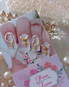Rosary Nails, Caviar Nails, Nails Design With Rhinestones, Nail Jewels, Crystal Nails, Manicure And Pedicure, Toe Nails, Nail Designs, Nail Art