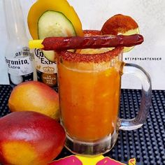 MANGO MICHELADA Fresh Mango Puree Fresh Lime Juice  1 Chilled Mexican Beer  1 Lime  Coarse Salt  Chamoy Sauce  Hot Sauce  Fresh Mango  Cucumber Slices  Tamarind  Instagram Photo Credit: @puro_chukii  Post your original recipe and photo on Instagram using #TipsyBartender and we will repost the best ones. Each month, the pics with most likes wins $300, 2nd Place $200, 3rd Place: $100.  #cocktail #drink #summer #party #mexico #beer#michelada