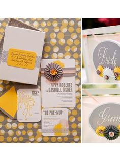 funky invitations in pussywillow yellow and gray