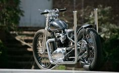 """Joyner Lucas from the workshop """"Factory Metal Works"""" is engaged in the construction of first-class old school Bobber. Triumph Motorcycles For Sale, Bobber Bikes, British Motorcycles, Bobber Motorcycle, Custom Motorcycles, Harley Bikes, Custom Choppers, Kustom Kulture"""