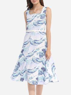 Printed Elegant Round Neck Skater-dress