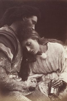 The parting of Sir Lancelot and Queen Guinevere, 1874. Julia Margaret Cameron. Rossetti's influence on Cameron's photographs is evident in both their subject matter and composition.