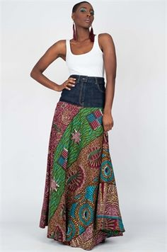 Picture of Seashells Denim Maxi Skirt