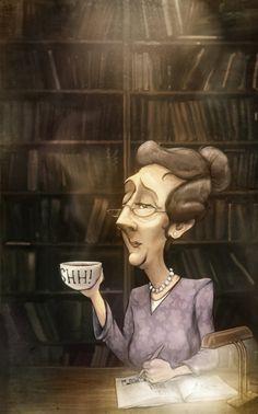 Librarian, coffee and silence / Bibliotecaria, café y silencio (ilustración de Louis du Mont)
