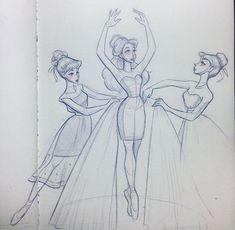 Ballet Drawings, Dancing Drawings, Art Drawings Sketches, Cute Drawings, Sketch Art, Cartoon Girl Drawing, Girl Cartoon, Cartoon Art, Drawing Tutorials For Beginners