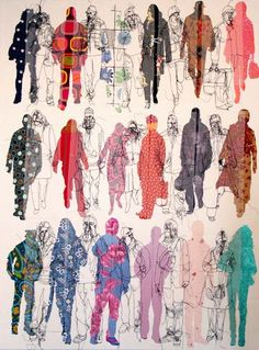For our textiles work we looked at 2 artists, Rosie James and Alice Kettle. Rosie James is an illustrative stitch and sewing artist. Alice Kettle is a textile artist. Rosie James Rosie James is a c… James And Alice, Rosie James, James 3, Fashion Illustration Collage, Illustration Art, Identity Art, Guache, Up Book, Gcse Art