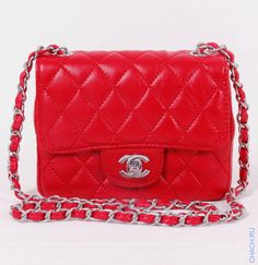 Сумка CHANEL mini Lambskin Flap Bag красная с серебристой фурнитурой