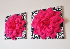 ALL ITEMS ARE MADE TO ORDER PLEASE SEE SHOP FOR CURRENT CREATION TIME!!! Large Hot Pink Dahlia Flower on Black and White Damask Print Canvas 12 x12 Wall Hanging. ***Matching and Coordinating Pillows Available Please see Shop: http://www.etsy.com/shop/bedbuggs  Stunning Touch to any wall and room! More Flower Designs and Colors Available, we can custom to your decor!  Hot Pink Dahlia is 3D and made from the Highest Quality Felt. Dahlia measures about 10 in diameter and it a...